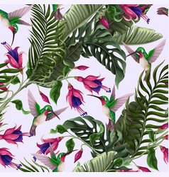 Seamless pattern with hummingbirds and tropical vector