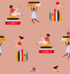seamless pattern with young women and piles of vector image
