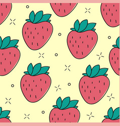 seamless strawberry hand drawn pattern vector image