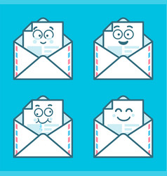 set of emoji messages in letters concept of happy vector image