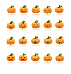Set of halloween pumpkins vector image