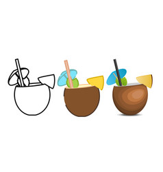 Set of pina colada icons vector