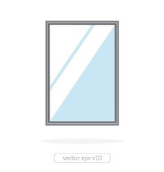 Silver mirror with reflection at the wall vector image