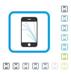 Smartphone screen cracks framed icon vector