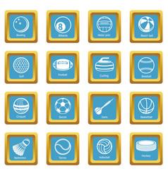 sport balls equipment icons set sapphirine square vector image