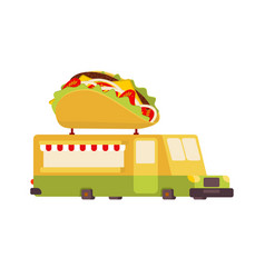 tacos car food truck fast food car vector image