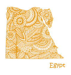 textured map of egypt hand drawn ethno vector image