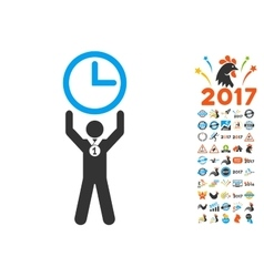 Time Champion Icon With 2017 Year Bonus Pictograms vector