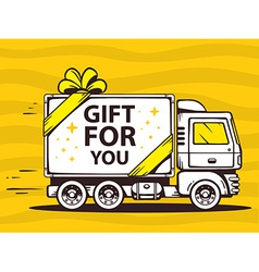 Truck free and fast delivering gift to cu vector