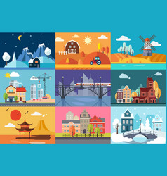 Urban and rural landscape in different seasons set vector