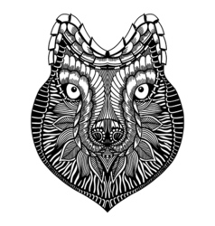 Zentangle stylized Wolf face vector