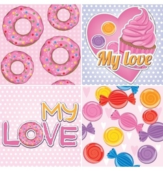 A set of textures with sweets vector image