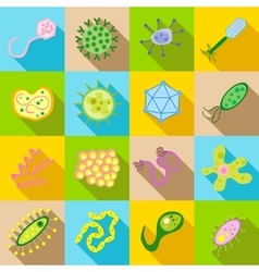 Germ and pathogen icons set flat style vector image