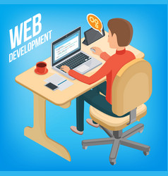 isometric image wed development man sitting at vector image vector image