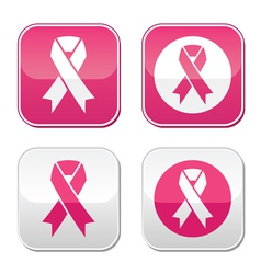 Ribbon symbols for breast cancer awareness buttons vector