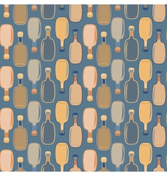 Seamless alcohol bottles pattern on blue vector image