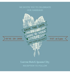 Wedding Vintage Invitation Card - Feather Theme vector image vector image