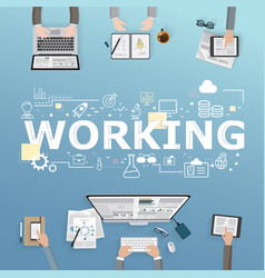 Working icons for business in office design vector