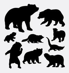 Bear and raccoon wild animal silhouette vector