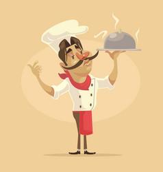 chef man character hold dish vector image vector image
