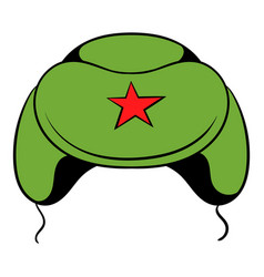 soviet military cap earflaps icon cartoon vector image vector image