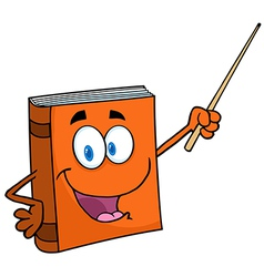 Text Book Cartoon Character With A Pointer vector image vector image