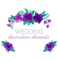 Watercolor purple flowers decor elements vector image