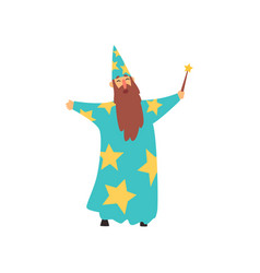 cheerful man with long beard in blue wizard vector image vector image