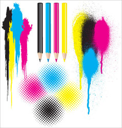CMYK splatters pencils and halftones vector image vector image