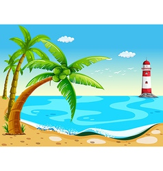 Coconut trees at the beach vector image vector image