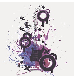 electric guitar with watercolor splash b vector image