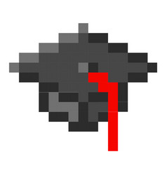 graduation cap pixel art cartoon retro game style vector image