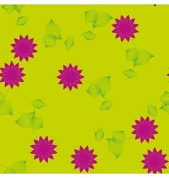 Purple flower with leaves seamless pattern vector image