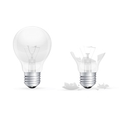 Whole and Broken Light Bulb on a White Background vector image vector image