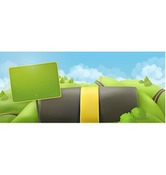Road and sign 3d cartoon nature landscape vector image vector image