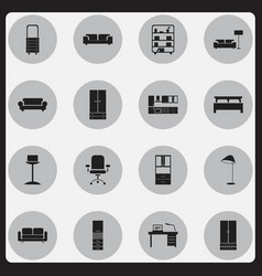 set of 16 editable furniture icons includes vector image vector image