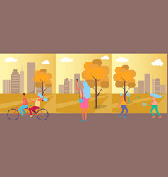 active people practising in park vector image
