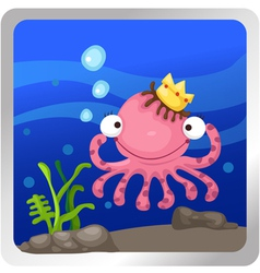 An octopus underwater background vector