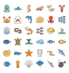 Aquatic ocean life filled outline icon set vector