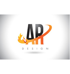 Ar a r letter logo with fire flames design vector
