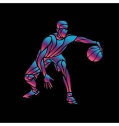 Basketball player slam dunk neon glow silhouette vector