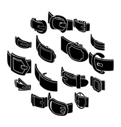 Belt buckle icons set simple style vector