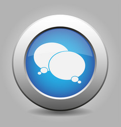 blue metal button white two speech bubbles icon vector image