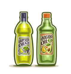 Bottles with grapeseed and avocado oil vector