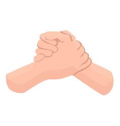 Brother handshake icon cartoon style vector