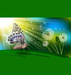 Butterfly and dandelion boke vector