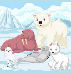 Cartoon arctic animals with ice field background vector