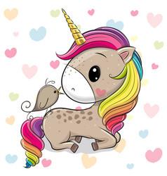 Cartoon unicorn with a bird on a hearts background vector