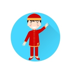 Chinese Boy flat icon on the blue circle with long vector image