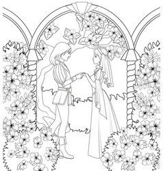 Coloring book medieval couple holding hands vector